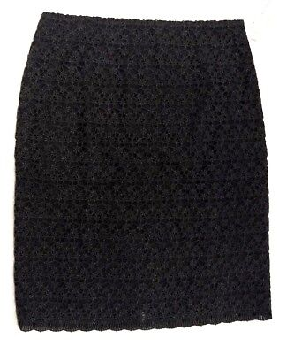 ede65839b3 NWT Talbots Collection Womens Black Wool Blend Lined Rear Slit Skirt 12