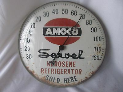 Vintage Amoco Oil Gas Service Station Thermometer Servel Advertising Sign Round