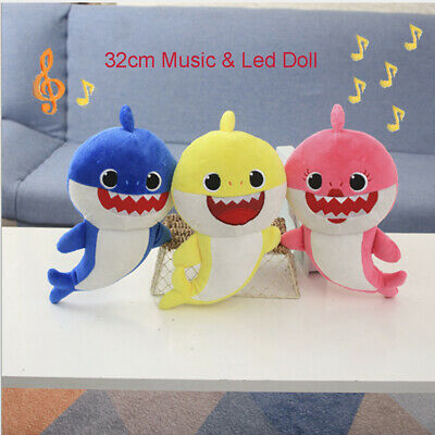 Cute LED Light Baby Shark Singing Music Toys English Song Toy Baby Plush Toys