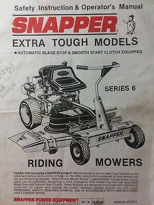 Snapper Rear Engine Riding Lawn Mower Tractor Owners Manual HI VAC series 6