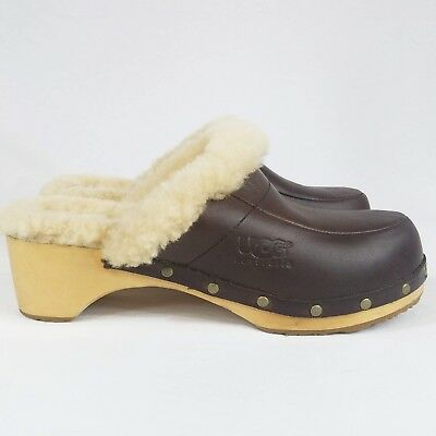 4dfd9477ac9 UGG AUSTRALIA 5425 Kalie Womens US 9 Sheepskin Fur Studded Wood Clogs Mules