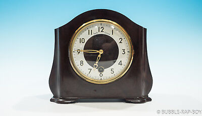 VINTAGE 1950s SMITHS BAKELITE MANTLE CLOCK MADE IN ENGLAND FILM PROP