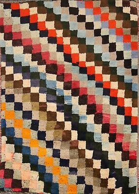 Thick Pile Checkered Color-full Modern Gabbeh Modern Persian Area Rug Wool 3x4