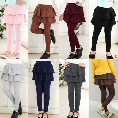 3-11Y Girls Warm Cake Culottes Leggings with Ruffle Tutu Skirt Pants Trousers US