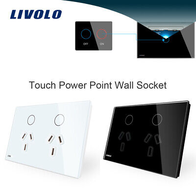 Livolo AU Type Touch Light Switch Power Point Wall Socket  Switch White/Black