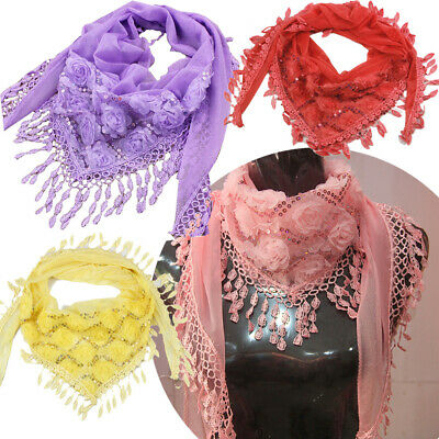 Elegant Women Lace Tassel Floral Scarf Long Wrap Shawl Embroidered Scarves