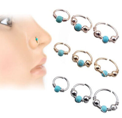 Nose Ring Stud Eyebrow Cartilage Tragus Septum Helix Lip Ear Cuff Hoop Piercing