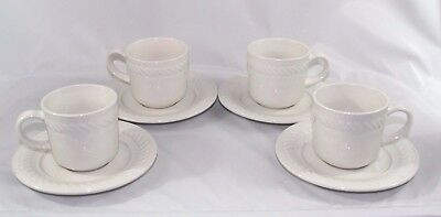 Set of 4 Gibson Braid Rimmed Cups Saucers White Embossed Rope Border Discounted