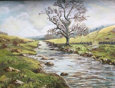 Signed Vintage Oil Painting Beautiful Tranquil River Valley