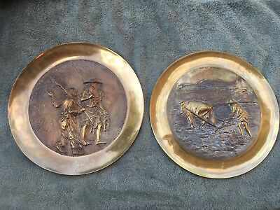 Vintage Heavy Brass Embossed Farmer with Ox and Fishermen Hanging Wall Plates