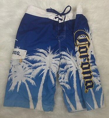 64b56a97ed Corona Blue And White Embroidered Logo Palm Tree Mens Swim Trunks Size Small