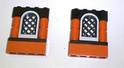LEGO Lot of 4 Brown Windows 1x2 Rounded Top Part 30044 4 Black Panes 30045 NEW