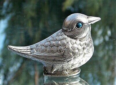 Lovely Victorian Solid Silver Novelty Bird Hinged Snuff Box Blue Enamel Eyes