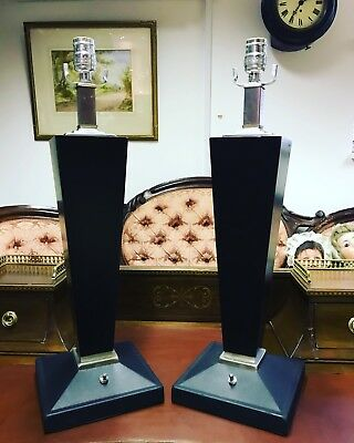 Pair Of Stylish Lamps. Metal & Wood.