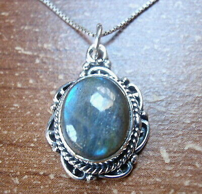 Beautifully Accented Labradorite 925 Sterling Silver Pendant Rope Style Accents