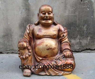 """31"""" Chinese Age-old Dry Lacquer Lucky Wealth Maitreya Buddha Sack Monk Statue"""