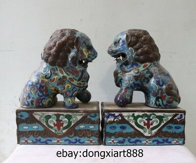 10 Chinese Purple Bronze Handwork Cloisonne Foo Dog Guardian Lion Animal Statue