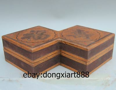 "14"" Chinese Wood Painted blessing longevity eight-square Box Wooden Case Crate"