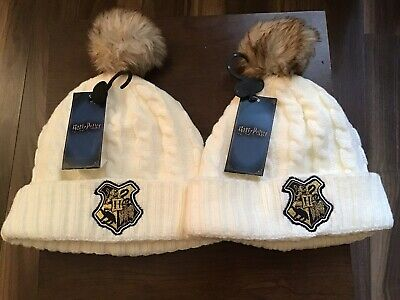 Harry Potter Beanie Knitted Woolie Bobble Hat White