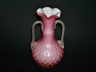 """ANTIQUE Pink Satin Glass Diamond Quilted Art Glass Vase - 8 1/4"""""""