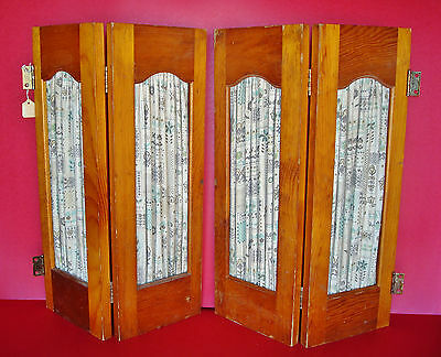 Pair of 1950's Vintage SEARS Wooden Interior Window Shutters w/ Fabric Curtains