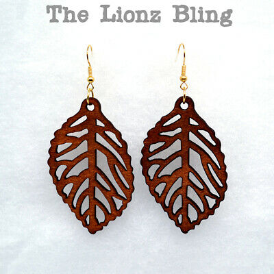 """Bohemian style Carved Maple Leaf Dangle Earrings - Carved Natural Wood 3"""" Drop"""