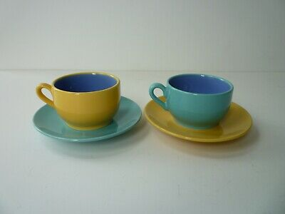 Vintage Lindt Stymeist Turquoise Yellow Colorways Cup + Saucer - Lot of 2