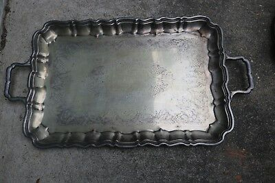 The Sheffield Silver Co. Rectangular Silver Plate Serving Tray Handles