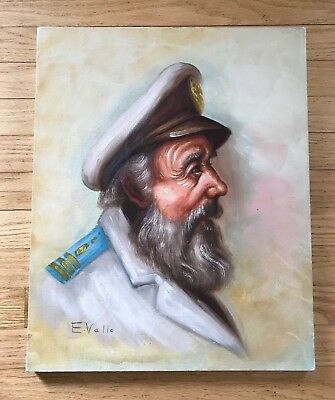 Original Oil Painting on Canvas Sea Captain of the Ship Signed E.Vallo Vintage