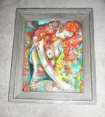 "Original Oil Painting On Canvas Topless Woman in Wooden Frame 17"" x 14"""