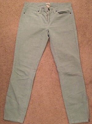 J.CREW Women's Toothpick Cords Pants Green Ankle Zip Skinny Slim Corduroy Sz 28