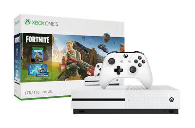 Microsoft Xbox One S 1TB Fortnite Console Bundle - White 4K HDR Blu-Ray New