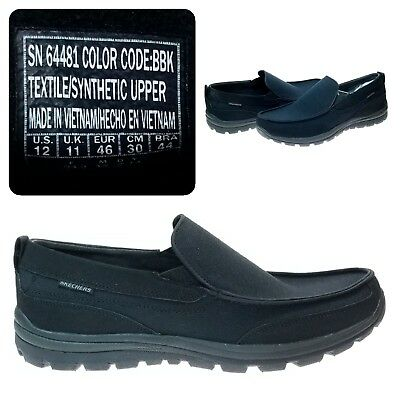 Skechers Mens US8.5 Mountain Rig Black Shoes Loafers Relaxed Fit Memory Foam New