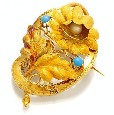 Distinctive 18K Gold Ladies Victorian Brooch With Stone Adornments C. 1880s