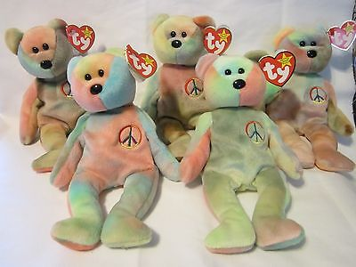Rare Collectible Peace Ty Beanie Baby  MINT Condition Tags Errors LOT OF 5
