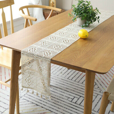 Crochet Table Runner Handmade Hollow Lace Craft Tablecover Cloth Home Decoration