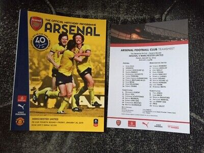 Arsenal V Manchester United Fa Cup Fourth Round 2018-19 With Official Teamsheet