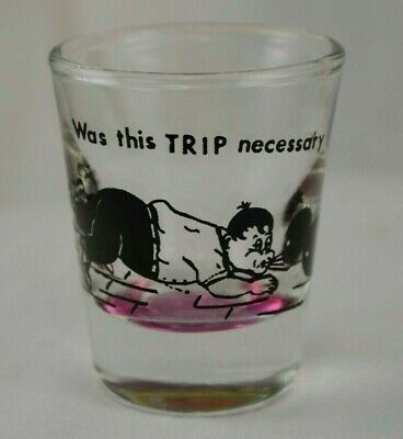 """Vintage Comical Shot Glass, """"Was This Trip Necessary"""" Bowling Theme Purple Base"""