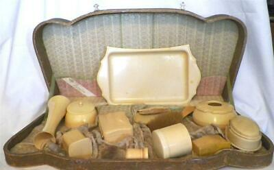 Art Deco Vanity Set Celluloid Pyralin Original Box Vintage Varied Makers AS IS