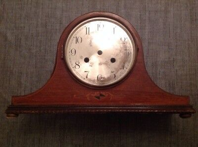 Antique Inlaid Nelson Hat Inlaid Mantle Clock Case + Bezel For Repair 38x22x12cm
