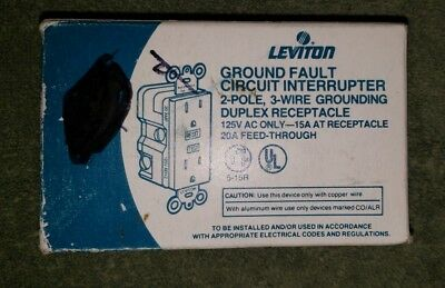 Leviton 6599-I Ground Fault Circuit Interrupter, Ivory, 15A-125V Receptacle *Jch