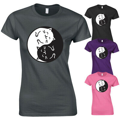 Cat Kitten Yin Yang Cute Funny Meme Hipster Slogan Graphic New Womens T-shirt