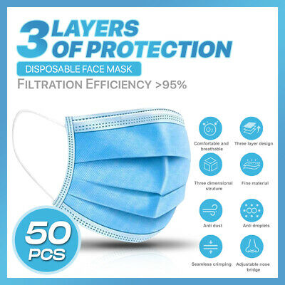 [50PC] 3 PLY Disposable Face Mask Dust Filter Safety Protection Mouth Nose Cover