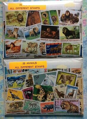 25 Animal & 25 Lion Picture World Stamp Pack. All Different. Sealed In Packets.