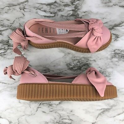 promo code c8496 1e459 NWT PUMA WOMENS Rihanna Pink Flats Sandals Fenty Bandana Leather Creeper  Shoes 7