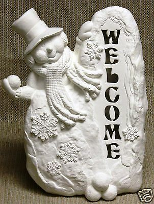 Ceramic Bisque Welcome Snowman Light CPI Mold 3912 U-Paint Ready To Paint