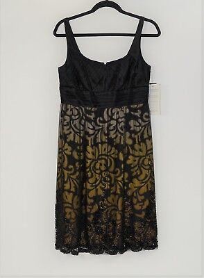 CARMEN MARC VALVO Collection Black Gold Floral Beaded Cocktail Dress