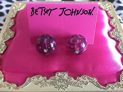 Betsey Johnson Vintage Varsity Crush Clear Pink Leopard Lucite Ball Earrings