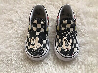 d9f775115a3838 Vans x Disney Mickey   Minnie Checker Flame Slip-On Shoes Sizes 5.5 Toddler