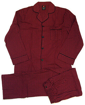 Hanes Mens Red Black Black Woven Cotton Blend Coat Style Pajamas Sizes Small 2X